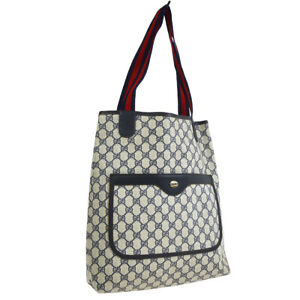 GUCCI GG Pattern Shelly Line Shoulder Tote Bag Purse Navy PVC Leather 32857