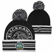 a82bb03f643 One Size - Chicago Blackhawks Youth Winter Classic Cuffed Pom Knit Hat -  Black