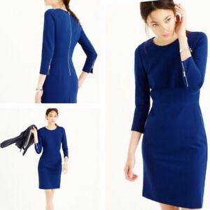 New with tags J.Crew classy structured blue knit zip dress women's 4US