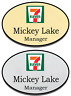 1 GOLD & 1 SILVER OVAL 7-ELEVEN PERSONALIZED NAME BADGES SAFETY PIN FASTENER