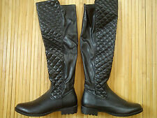 NICE NEW SEXY KNEE THIGH HIGH LOW FLAT HEEL BOOTS WINTER AUTUMN SIZE 4 (0.8)