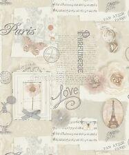 Arthouse VIP Wallpaper Felicity Natural 665400 Paris Flowers Script Butterfly