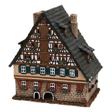Ceramic Tea Light House Holder Half-timbered Pitched Roof 16cm 40651