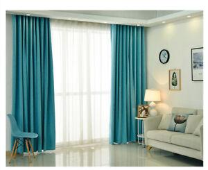 100% Blockout Pinch Pleat Curtains DARKENING Bedroom Blue Color