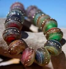 Tiger Paradise strand (16) Lampwork Beads Handmade +Fine Silver SRA A15