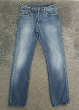 Mens Levis Strauss Jeans Light Blue Waist 33in Leg 34in Button Fly