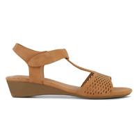 Womens Bellisimo Bain 2 Tan Black Flats Sandals Adjustable Strap Comfort Shoes