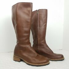 UGG cognac brown leather knee high tall boots sz 6.5 sheepskin riding zip up