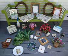 Vtg 40 Lot Garden Hummingbird Stained Glass Faux Fern Flower Basket Wreath Decor