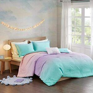 Glimmer & Sparkles Aqua & Purple Tie Dye Ombre Girls Twin 3 Piece Comforter Set