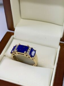 VTG 14k Solid Yellow Gold Ladies Ring/ Lapis Lazuli, Diamonds  Sz 7  3.3 Gm  NR