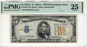 1934 A $5 SILVER CERTIFICATE NOTE NORTH AFRICA FR.2307 KA BLOCK PMG VF 25(555A)