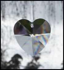 Crystal HEART 28mm CLEAR PRISM DROP Pendant Craft Suncatcher