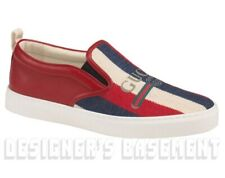 GUCCI 11G red TRADEMARK Leather & Canvas DUBLIN slip on sneakers NIB Authen $630