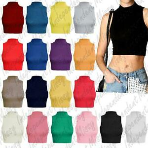 New Womens Sleeveless Plain Polo High Neck Crop Top T-Shirt Turtle Vest 8-14