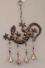 Gecko iron windchime with mixed glass beads, 40 x 24cm