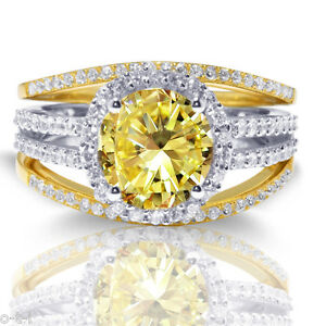 Brilliant Citrine Halo with Clear CZ Silver Gold Finish Three Ring Set