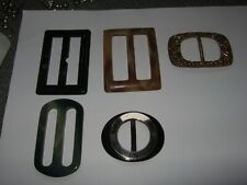 5 belt buckles,3 bakelite 2 metal