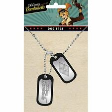 Official DC Comics Harley Quinn Logo Dog Tag Pendant with Chain - Suicide Squad