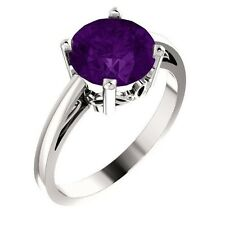 Natural Purple Amethyst 8 mm Round Gemstone Solitaire Ring 14K White Solid Gold