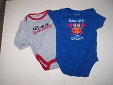 Infant Boy 0-3 bodysuits (2) ROMEO IN TRAINING gray  & BACK OFF I'M CRABBY blue