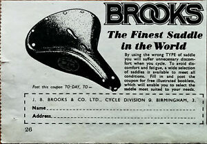 Brooks Bicycle Selles Brooks le Plus Fin Selle IN The World Vintage Annonce 1949