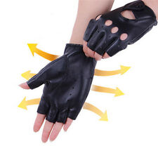 Women's Leather Gloves Half Finger Fingerless Dance Stage Cycling Driving Cool
