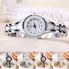 Casual Women Bracelet Bangle Stainless Steel Crystal Quartz Analog Wrist Watches