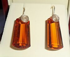 46cts Natural Fancy Madeira Citrine gemstones, 14kt yellow gold Pierced Earrings
