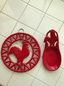 """Cast Iron Trivet & Spoon Rest Red Rooster Chicken Wall Decor 8"""" Round"""