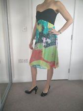 Diane Von Furstenberg DVF Strapless Silk Black Multi-Color Asti Dress 6US -10UK