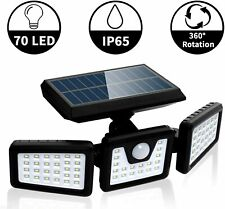 3 Head Solar PIR Motion Sensor Light Outdoor Garden Wall Security Flood Lamp