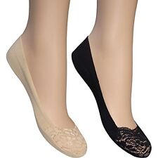 2 Pair Invisible Lace Toe Footsies Footlets Shoe Liners Black Nude 1 Pair Each