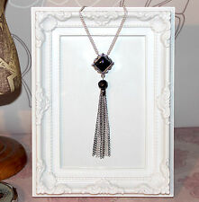 Vintage/flapper/Gatsby/1920's silver necklace with black crystal beads & tassel