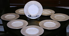 NEIMAN MARCUS - SET of 8 - Gold Speckled DINNER PLATES *Made in ITALY *RARE!