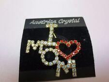 I Love Mom Pin 14 Kt Gold Plated Rhinestone