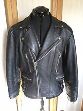 Vintage Black LEATHER Jacket  Fully Lined  Size LARGE #120J-B