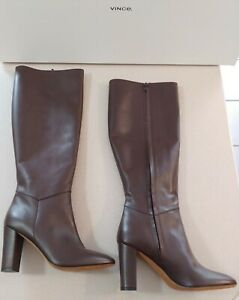 vince. Vita Dahlia wine Tall Leather High Heel Boots NIB Size 39