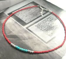 Red seed beads and Turquoise chocker necklace, boho, hippie chocker