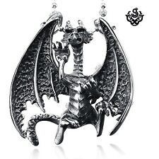 Silver 3D dragon pendant stainless steel necklace soft gothic