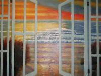 sea view ocean large oil painting canvas original seascape nautical sunset art