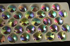 50p Glass Clear AB Oval/teardrop/round Sew on Rhinestone Crystal Dress Making pk