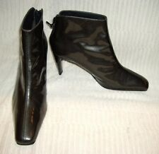 WEITZMAN Gray Black Houndstooth Plaid Patent Leather Boots 10B~Made in Spain