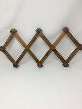 Vintage Wood Expandable Folding 10 Peg Wall Hanger Mug Coat Hat Accordion Rack