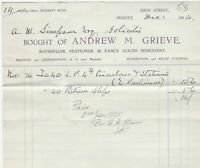 Bought of Andrew M. Grieve Moffat 1924 by Simpson Solicitor Paid Receipt Rf39989