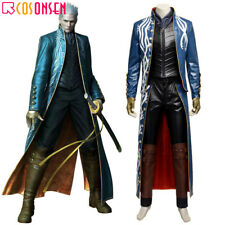 Devil May Cry 3 Vergil Cosplay Costume Leather Outfit Custom Made Halloween lot