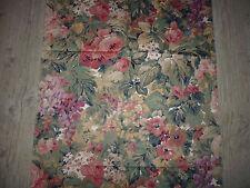 """coupon tissu textile ameublement BOUSSAC imprimé fleur rouge """"Ladoga - 1983"""" A"""