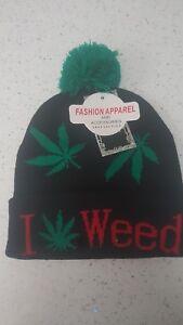 ***Jamaica Ganja Leaf Beanie Hat  Knitted Rasta Reggae ***