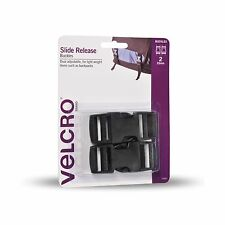 2x VELCRO® Brand SIDE RELEASE BUCKLES 25mm 2Pcs Dual Adjustable BLACK, Holds 5kg