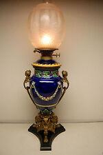 ANTIQUE KEROSENE OIL GWTW MAJOLICA PORCELAIN FRENCH NOUVEAU BRONZE ENGLISH LAMP
